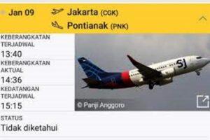 Pesawat Sriwijaya AIR SJ182 rute penerbangan Jakarta-Pontianak jatuh di perairan Kepulauan Seribu, Jakarta. Warga mengaku sempat mendengar ledakan di Pantai Tanjung Kait.